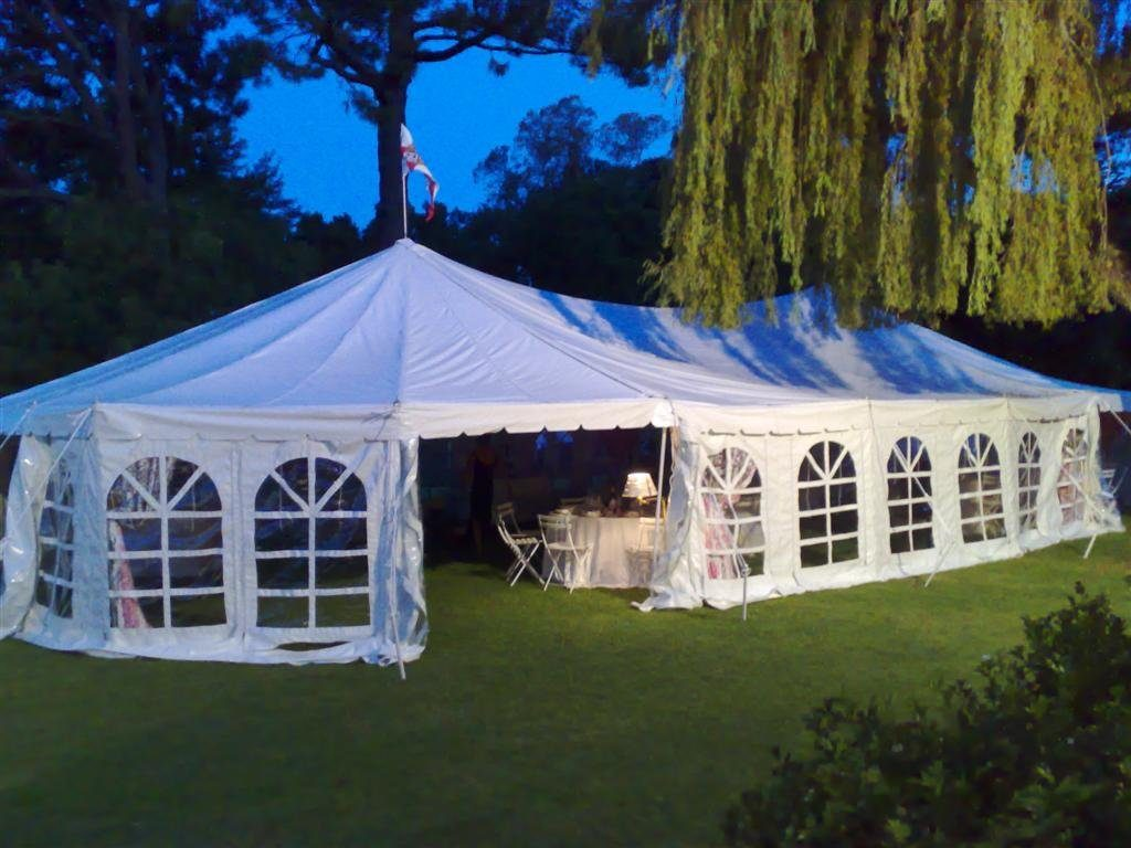 White peg and pole marquee tent